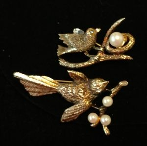 Sweet Pair of Sterling and Pearl Bird Brooches